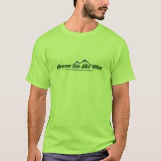 Camiseta T-shirt verde da cera de esqui do gelo