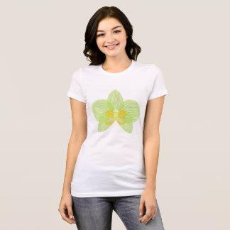 Camiseta T-shirt verde da orquídea do phalaenopsis