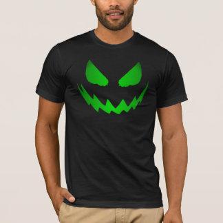Camiseta T-shirt verde de néon da cara da Jack-O-Lanterna