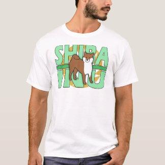 Camiseta T-shirt verde de Shiba Inu do texto