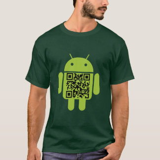 Camiseta T-shirt verde do código do Android QR
