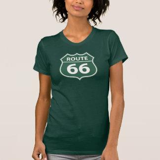 Camiseta T-shirt VERDE do SINAL da ROTA 66 das mulheres