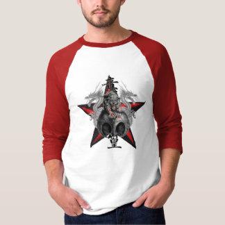 Camiseta T-shirt vermelho da estrela do crânio do tigre dos