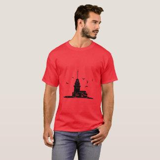 Camiseta T-shirt vermelho da torre da donzela para homens