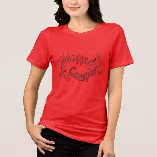 Camiseta T-shirt vermelho de acampamento das senhoras do