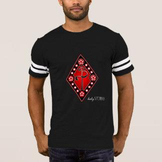 Camiseta t-shirt vermelho do futebol do preto do diamante