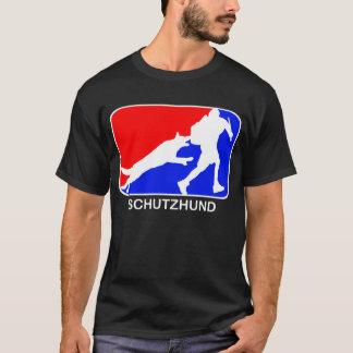 Camiseta t-shirt vermelho e azul do schutzhund do logotipo