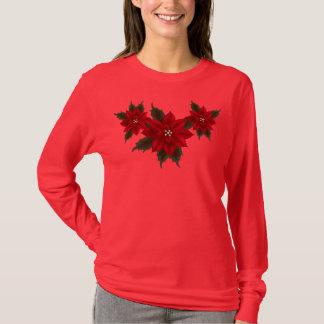 Camiseta T-shirt vermelho escuro de Hanes LS da poinsétia