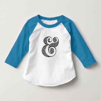 Camiseta T textured preto do raglan da luva da criança do