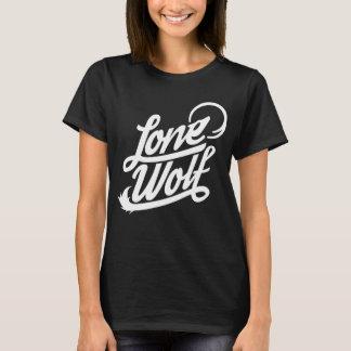 Camiseta T tipográfico do lobo solitário