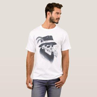 Camiseta T velho branco do crânio dos homens