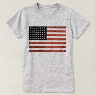 Camiseta T velho da bandeira americana da glória