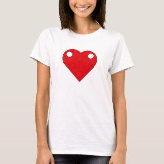Camiseta T vermelho das mulheres do coração do bloco de