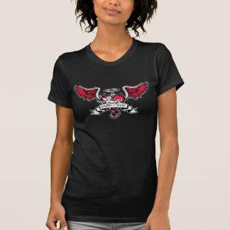Camiseta T vermelho do logotipo da camurça da cereja