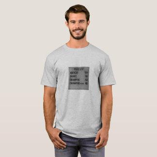 Camiseta tabela de preços