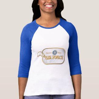 Camiseta Tag de cão azul da esposa da força aérea