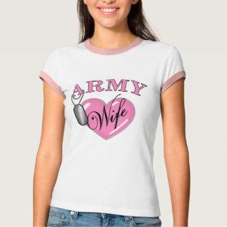 Camiseta Tag de cão do coração N da esposa do exército