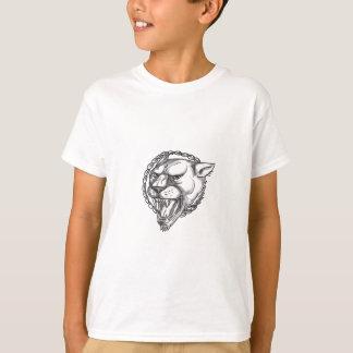 Camiseta Tatuagem do círculo da corda da rosnadura da leoa