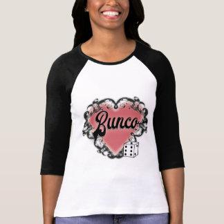 Camiseta Tatuagem dos dados do coração de Bunco do vintage