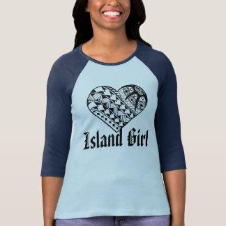 Camiseta Tatuagem polinésio do coração do preto da menina