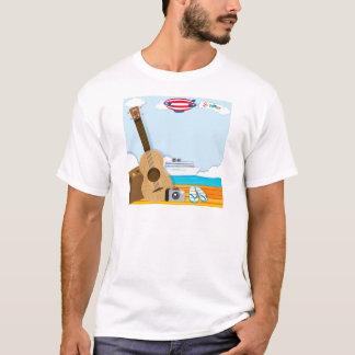 Camiseta Tema do verão com objetos do cruzeiro e do viagem
