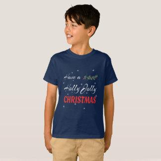 Camiseta Tenha um Natal alegre do azevinho