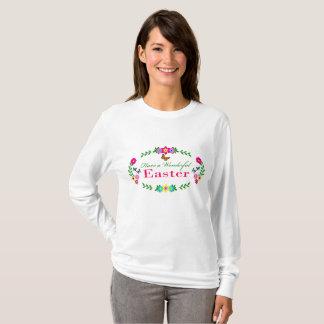 Camiseta Tenha uma páscoa maravilhosa - floral e borboletas