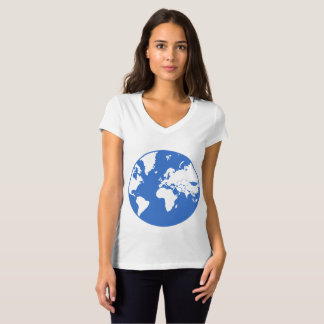 Camiseta Terra/t-shirt do V-Pescoço do jérsei Bella das