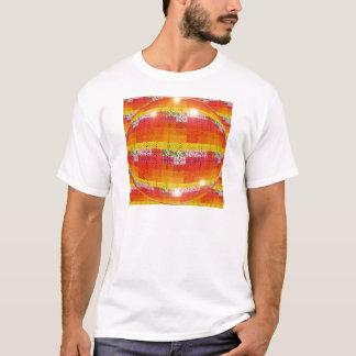 Camiseta Teste padrão alaranjado da bola do disco