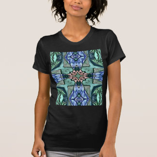 Camiseta Teste padrão artístico do pêssego moderno do Lilac