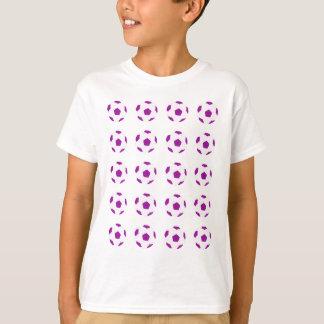 Camiseta Teste padrão branco e roxo da bola de futebol