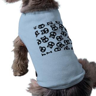 Camiseta Teste padrão cómico do preto do crânio