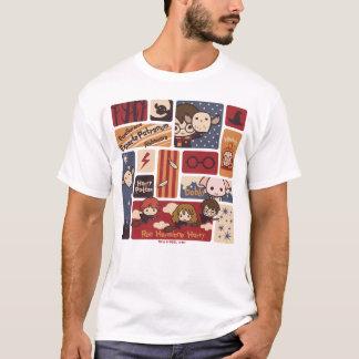 Camiseta Teste padrão das cenas dos desenhos animados de