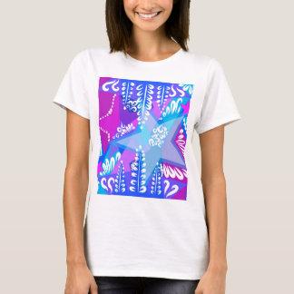 Camiseta Teste padrão de estrelas crescente