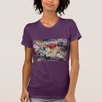 Camiseta Teste padrão de flor tropical retro
