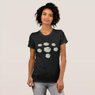 Camiseta Teste padrão de flores brancas Cust. O t-shirt das