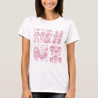 Camiseta Teste padrão de Pyrex do vintage - rosa de