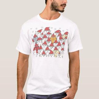 Camiseta Teste padrão do Natal com muitos gatos engraçados