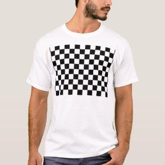 Camiseta teste padrão do tabuleiro de xadrez preto e branco