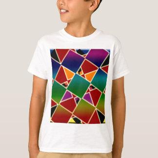 Camiseta Teste padrão esquadrado colorido telhado