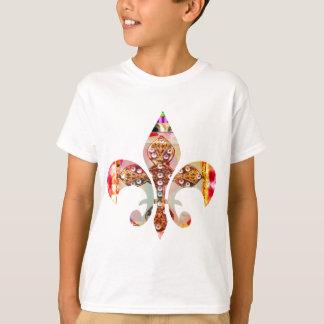Camiseta Teste padrão floral da jóia de Fleur di lis Flor