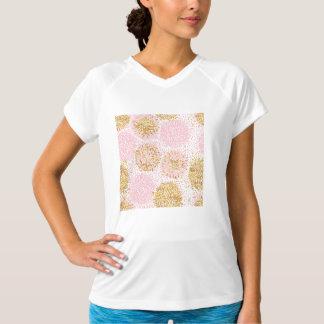 Camiseta Teste padrão floral moderno, ouro, rosa, branco,