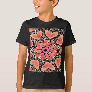 Camiseta Teste padrão Funky do caleidoscópio cor-de-rosa do