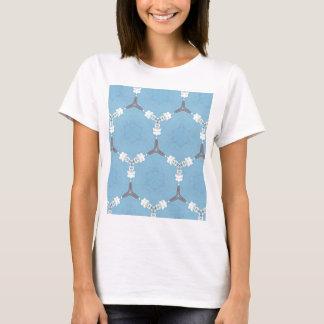 Camiseta Teste padrão geométrico cinzento branco dos azuis