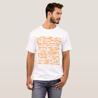 Camiseta Teste padrão listrado alaranjado e branco