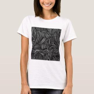 Camiseta Teste padrão preto e branco de conexão em cascata