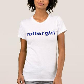 Camiseta texto azul do teste padrão do rollergirl