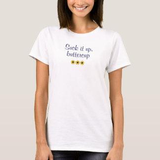 Camiseta Texto azul: Sugue-o acima, botão de ouro