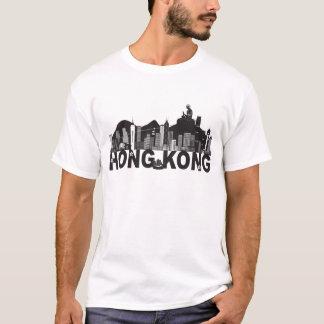Camiseta Texto da estátua de Buddha da skyline de Hong Kong