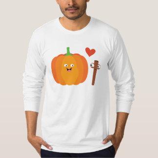 Camiseta Texto da queda do amor da especiaria da abóbora na